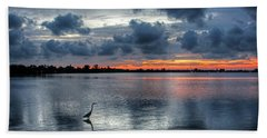 The Solitary Fisherman - Florida Sunset Hand Towel by HH Photography of Florida