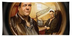 Bath Towel featuring the painting The Sopranos  Artwork 1 by Sheraz A
