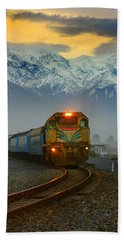 The Southerner Train New Zealand Hand Towel by Amanda Stadther