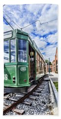 The Stib 1069 Streetcar At The National Capital Trolley Museum I Hand Towel