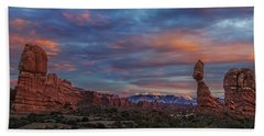 The Sun Sets At Balanced Rock Bath Towel