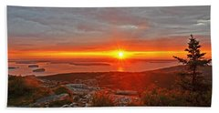 The Sunrise From Cadillac Mountain In Acadia National Park Hand Towel