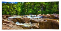 The Swift River Beside The Kancamagus Scenic Byway In New Hampshire Hand Towel by John Haldane