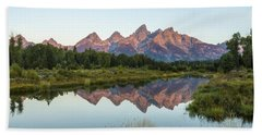 The Tetons Reflected On Schwabachers Landing - Grand Teton National Park Wyoming Hand Towel