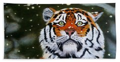 The Tiger In Winter Bath Towel