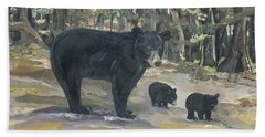 Bath Towel featuring the painting Cubs - Bears - Goldilocks And The Three Bears by Jan Dappen
