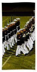 The United States Marine Corps Silent Drill Platoon Hand Towel by Robert Bales