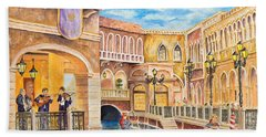 The Venetian Canal  Hand Towel by Vicki  Housel