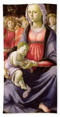 The Virgin And Child Surrounded By Five Angels Bath Towel