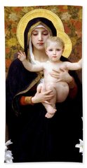 The Virgin Of The Lilies Hand Towel by William Bouguereau