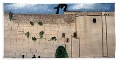 Hand Towel featuring the painting The  Western Wall And Fiddler On The Roof by Nora Shepley