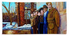 The War Years 1942 Montreal St Mathieu And De Maisonneuve Street Scene Canadian Art Carole Spandau Hand Towel