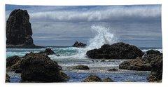 The Waves At Haystack Rock Hand Towel