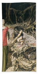 The Wooing Of Grimhilde The Mother Of Hagen From 'siegfried And The Twilight Of The Gods Hand Towel