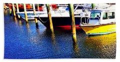 The Yellow Boat - Coastal Art By Sharon Cummings Bath Towel