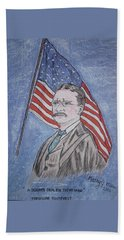 Hand Towel featuring the painting Theodore Roosevelt by Kathy Marrs Chandler