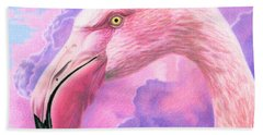 Think Pink Flamingo Bath Towel