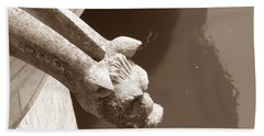 Thirsty Gargoyle - Sepia Bath Towel by HEVi FineArt