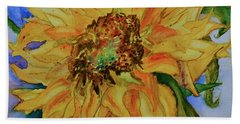 Bath Towel featuring the painting This Here Sunflower by Beverley Harper Tinsley