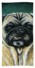 This Is My Happy Face - Pug Dog Painting Hand Towel