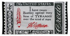 Thomas Jefferson American Credo Vintage Postage Stamp Print Bath Towel