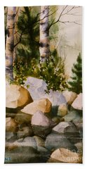 Three Birch By Rocky Stream Bath Towel