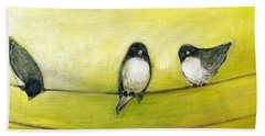 Three Birds On A Wire No 2 Bath Towel