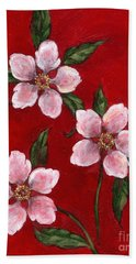Three Blossoms On Red Hand Towel