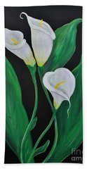 Hand Towel featuring the painting Three Calla Lilies On Black by Janice Rae Pariza