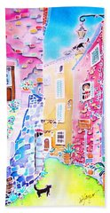 Three Cats In The Alley Bath Towel