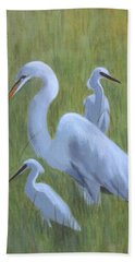 Three Egrets  Bath Towel