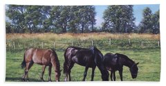 Bath Towel featuring the painting Three Horses In Field by Martin Davey