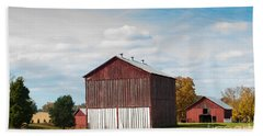 Bath Towel featuring the photograph Three In One Barns by Debbie Green