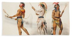 Three Indians Playing Lacrosse Hand Towel by Unknown