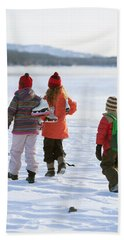 Three Kids Heading Out To Ice Skate Hand Towel