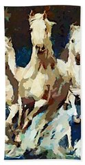 Hand Towel featuring the painting Three Lipizzans by Dragica  Micki Fortuna