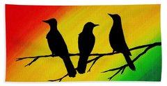 Three Little Birds Original Painting Bath Towel