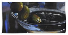 Three Olive Martini Hand Towel by Donna Tuten