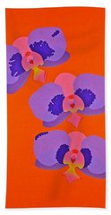 Hand Towel featuring the mixed media Three Orchids by Michele Myers