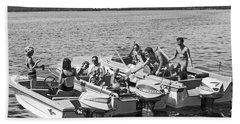 Three Power Boats Gather Together For Summer Boating Fun Bath Towel