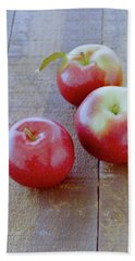 Three Red Apples Bath Towel