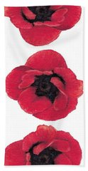 Three Red Poppies Hand Towel