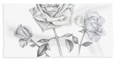 Three Roses Bath Towel by Elizabeth Lock