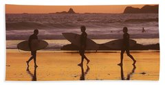 Three Surfers At Sunset Hand Towel