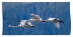Three Swans Flying Hand Towel by Sharon Talson