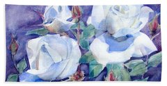 Hand Towel featuring the painting White Roses With Red Buds On Blue Field by Greta Corens