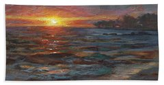 Through The Vog - Hawaii Beach Sunset Hand Towel