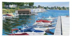 Hand Towel featuring the painting T.i. Park Marina by Lynne Reichhart