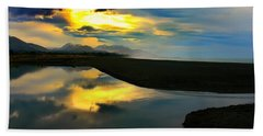 Bath Towel featuring the photograph Tidal Pond Sunset New Zealand by Amanda Stadther