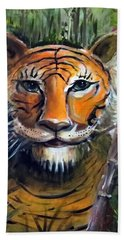 Hand Towel featuring the painting Tiger by Bernadette Krupa